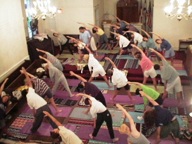 a busier-than-usual Yoga class at the Old Church